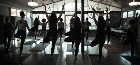 silouette of yoga classroom